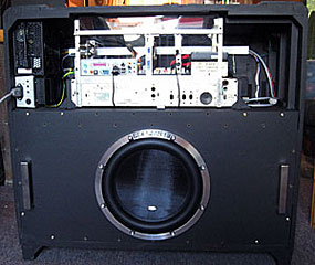 Rear view of cabinet with Main Chassis and subwoofer installed