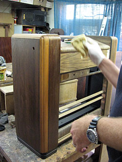 Polishing the cabinet